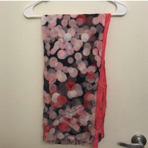 kate spade pink grey dot scarf nwot